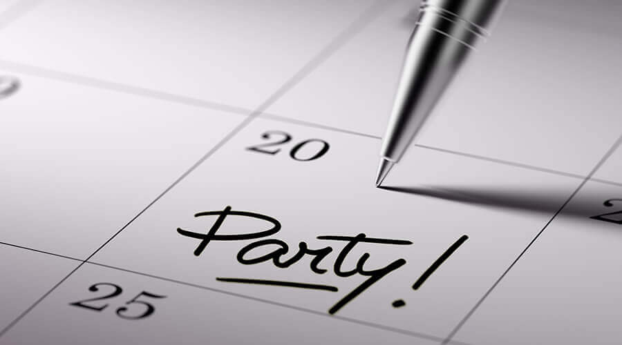 Party written on calendar
